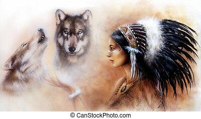 hermoso, llevando, mujer, airbrush, joven, indio, pintura