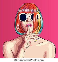 hermoso, llevando, mujer, gafas de sol, colorido, peluca, vector, blanco