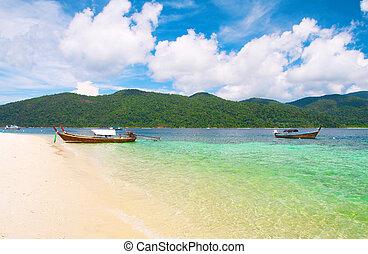 hermoso, longtail, boat., laguna, tailandia