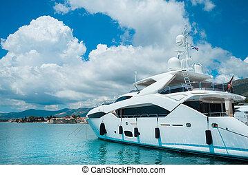 hermoso, lujo, yachts., viajar, vela, navegación, concept.