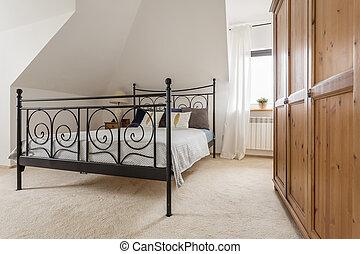 hermoso, luz, ático, idea, dormitorio