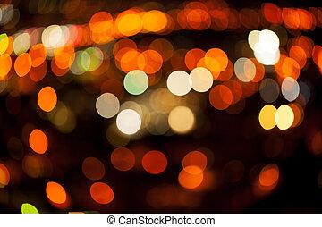 hermoso, luz, bokeh, city.