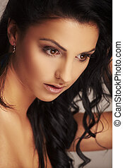 hermoso, luz, estudio, plano de fondo, modelo, brunett