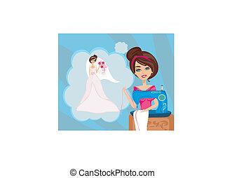 hermoso, máquina, costura, boda, niña, vestido, sueños