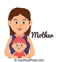 hermoso, madre, miembro de la familia