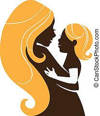 hermoso, madre, silueta, con, bebé