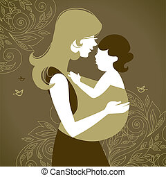 hermoso, madre, silueta, con, bebé, en, un, honda