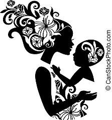 hermoso, madre, silueta, con, bebé, en, un, sling., floral, ilustración