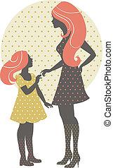 hermoso, madre, silueta, con, ella, hija, en, estilo retro