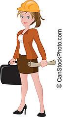 hermoso, maletín, hembra, arquitecto, tenencia, blueprint.