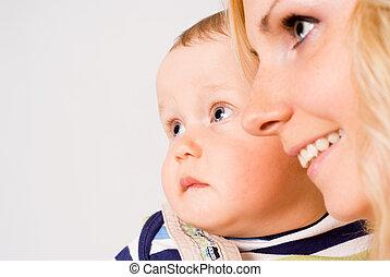 hermoso, mamá, con, ella, bebé