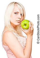hermoso, manzana, verde, fresco, rubio, niña