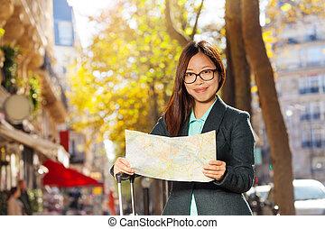 hermoso, mapa, calle, lectura, viajero