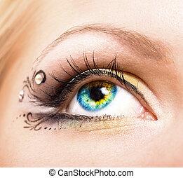 hermoso, Maquillaje, ojo