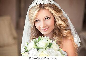 hermoso, maquillaje, pelo largo, novia, ondulado, retrato de...