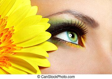 hermoso, maquillajespara ojos