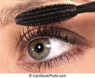 hermoso, maquillajespara ojos, close-up.