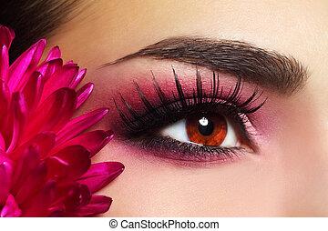 hermoso, maquillajespara ojos, con, aster, flor