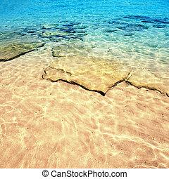 hermoso, mar, arena, cielo, y, día de verano, -, viaje,...