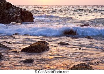 hermoso, mar, ocaso