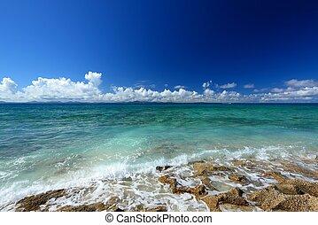hermoso, mar,  Okinawa