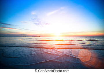 hermoso, mar, sunset.