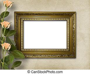 hermoso, marco de madera, rosas, foto