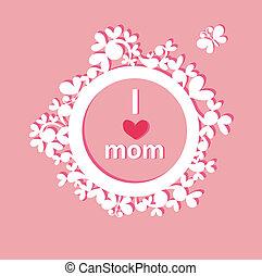 hermoso, marco, papel, saludo, mamá
