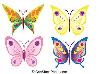 hermoso, mariposa