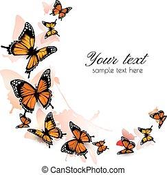 hermoso, mariposa, vector., fondo.