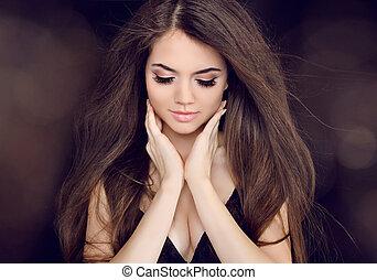 hermoso, marrón, mujer, largo, Moda, pelo, peinados