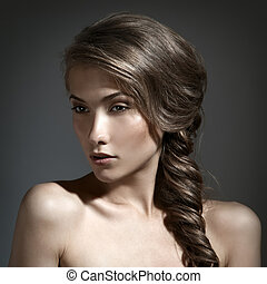 hermoso, marrón, mujer, pelo largo, portrait.