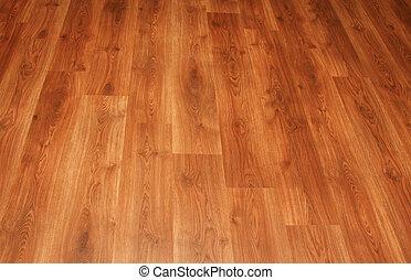 hermoso, marrón, piso, de madera, arriba, laminado, detalle...
