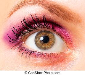 hermoso, marrón, primer plano, mujer, ojo