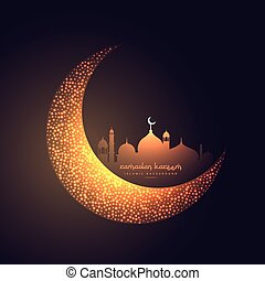 hermoso, mezquita, diseño, luna