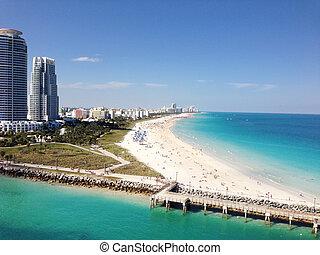 hermoso, miami beach, sur, vista