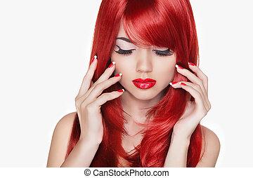 hermoso, moda, aislar, makeup., largo, hair., niña, modelo, rojo