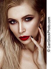 hermoso, moda, arte, nails., belleza, face., labios, pelo negro, sexy, rubio, niña, sensual