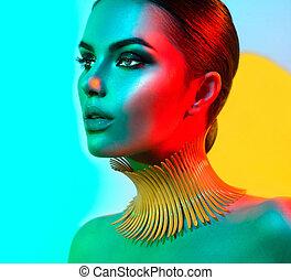 hermoso, moda, colorido, maquillaje, luces, brillante, retrato de mujer, moderno, sexy, modelo, niña, posing.