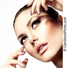hermoso, moda, ella/los/las de niña, face., maquillaje, y, manicura