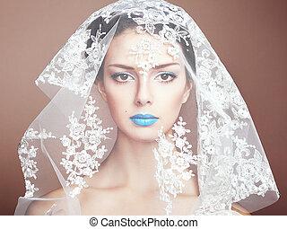 hermoso, Moda, foto, debajo, blanco, velo, mujeres