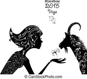 hermoso, moda, g, año, señal, virgo., 2015, zodíaco, goat