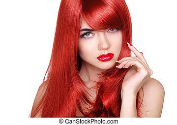 hermoso, moda, h, maquillaje, largo, ondulado, brillante, hair., niña, rojo