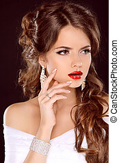 hermoso, moda, hairstyle., lips., aislado, makeup., elegante, fondo negro, manicured, niña, woman., rojo, nails.