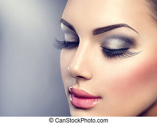 hermoso, moda, lujo, makeup., largo, pestañas, piel perfecta