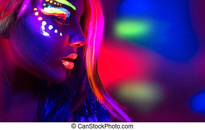 hermoso, moda, luz de neón, mujer, maquillaje, retrato, fluorescente, modelo, niña