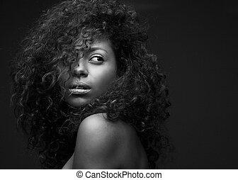hermoso, moda, norteamericano, africano, retrato, modelo