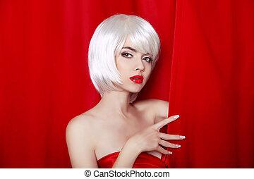 hermoso, moda, rubio, hair., retrato, close-up., niña, estilo, aislado, fringe., fondo., make-up., cortina, rojo blanco, mujer, hairstyle., belleza, cortinas, cortocircuito, cara, o, moda