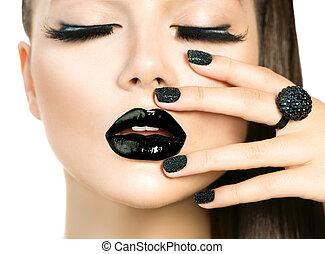 hermoso, modelo, mujer, con, largo, latigazos, y, negro,...