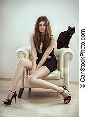 hermoso, modelo, mujer, con, un, gato